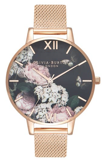 Olivia Burton Signature Floral Mesh Strap Watch, 38mm
