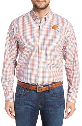 Men's Cutter & Buck Cleveland Browns - Gilman Regular Fit Plaid Sport Shirt