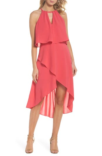 Adrianna Papell Crepe Popover High/low Dress, Pink