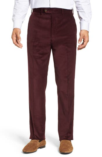 John W. Nordstrom® Torino Traditional Fit Flat Front Corduroy Trousers