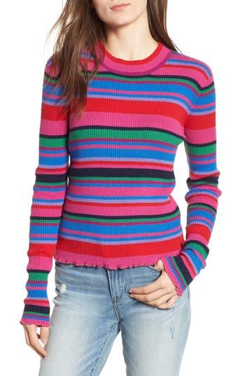 BP. Ribbed Lettuce Edge Stripe Sweater