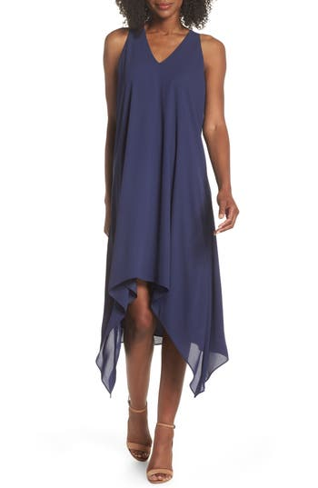 MAGGY LONDON DRAPED RACERBACK GEORGETTE TRAPEZE DRESS