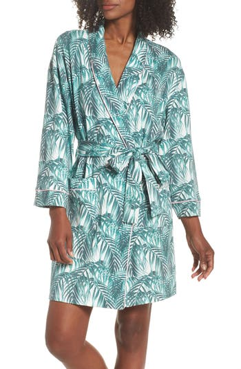 Women's Bedhead Print Knit Short Robe, Size Large/X-Large - White