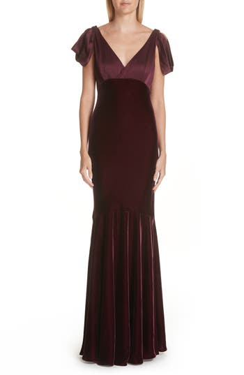 Verdin Bias Cut Velvet & Silk Trumpet Gown