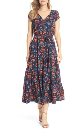 Maggy London Smock Shoulder Floral Crepe Midi Dress