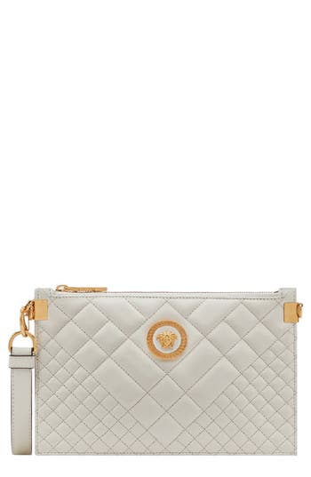 VERSACE TRIBUTE ICON QUILTED LEATHER POUCH - IVORY