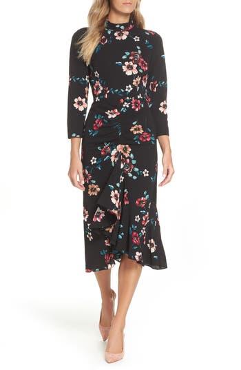 Eliza J Floral Ruffle Midi Dress