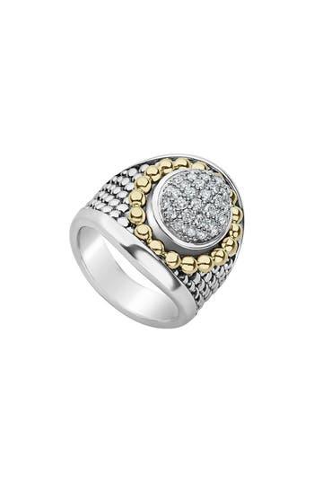 LAGOS SIGNATURE CAVIAR & PAVE DIAMOND RING