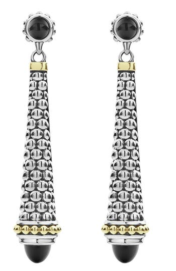 LAGOS Signature Caviar Stone Cap Drop Earrings