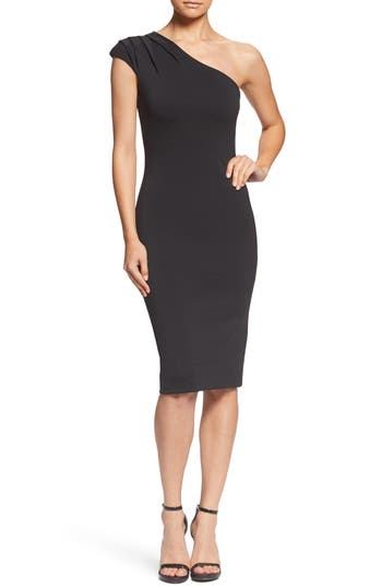 DRESS THE POPULATION QUINN ONE-SHOULDER BODY-CON DRESS