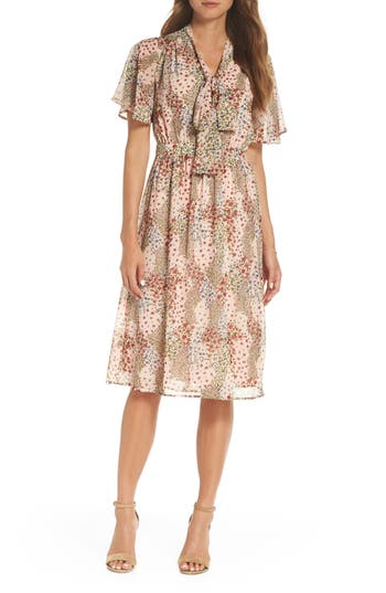 1901 Tie Neck Floral Midi Dress