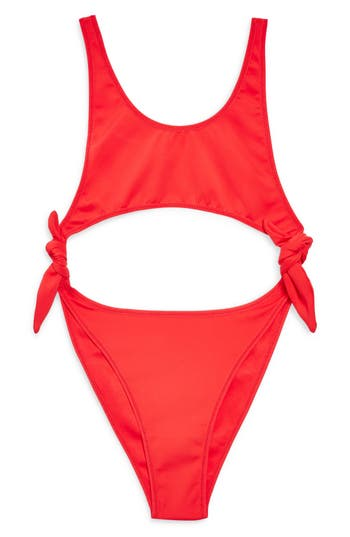 Women's Topshop Split Tie Swimsuit, Size Large - Red