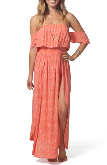 Women's Rip Curl Saltwater Off The Shoulder Maxi Dress, Size X-Small - Coral