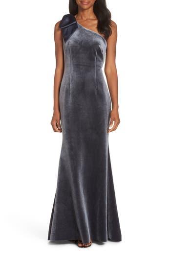 Eliza J Bow One-Shoulder Velvet Gown