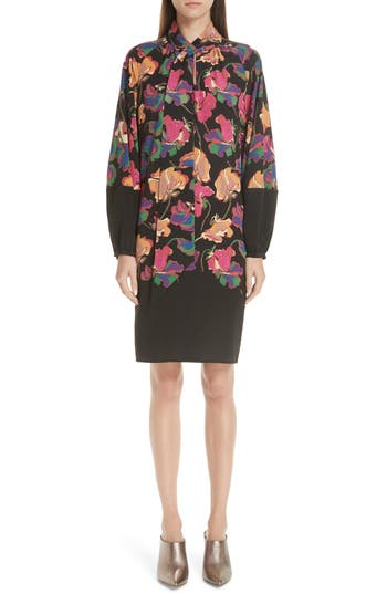 Etro Poppy Print Tie Neck Silk Dress