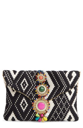 BEADED & EMBROIDERED CLUTCH - BLACK