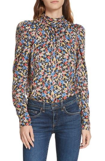 Veronica Beard Mena Floral Stretch Silk Top