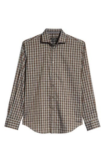 Men's Bugatchi Shaped Fit Gingham Sport Shirt, Size Small - Brown