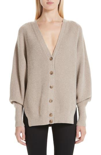 Alexander Wang Puff Sleeve Merino Wool & Cashmere Blend Cardigan