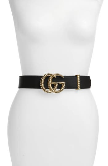 Gucci Textured GG Logo Leather Belt
