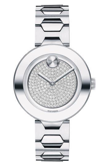 Movado Bold Pavé T-Bar Bracelet Watch, 32mm