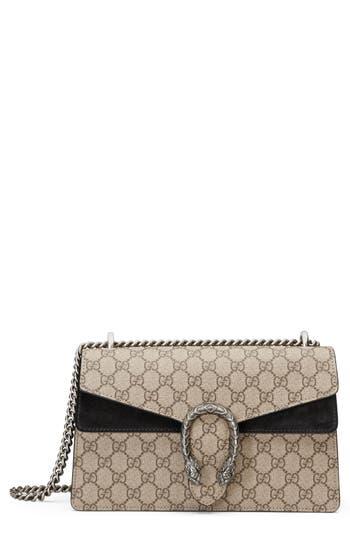 Gucci Small Dionysus GG Supreme Canvas & Suede Shoulder Bag