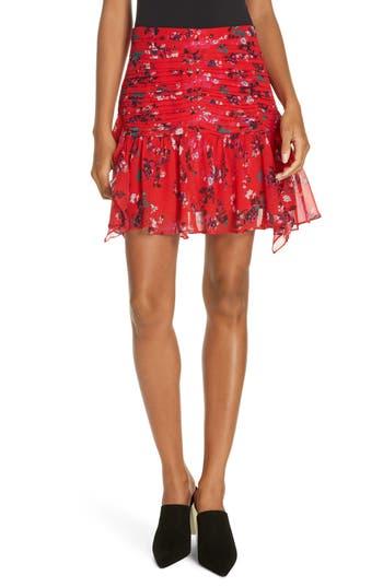 Tanya Taylor Abby Floral Clusters Stretch Silk Chiffon Mini Skirt