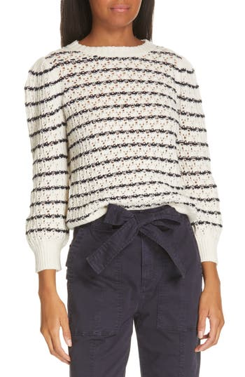 La Vie Rebecca Taylor Stripe Pointelle Sweater