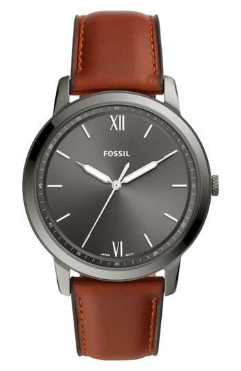 Fossil Minimalist Leather Strap Watch, 44mm