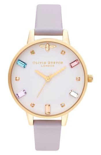 Olivia Burton Rainbow Stone Leather Strap Watch, 34mm