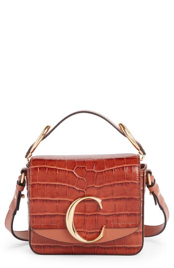 Chloé Mini C Croc Embossed Leather Satchel