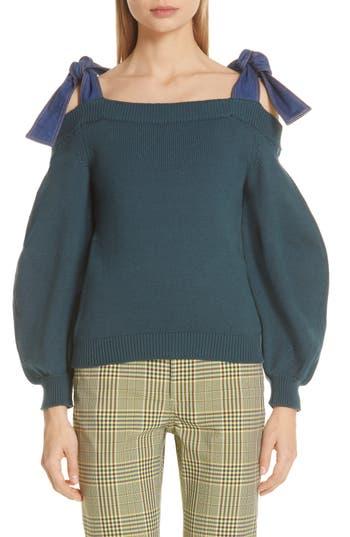 Adeam Denim Tie Off the Shoulder Sweater