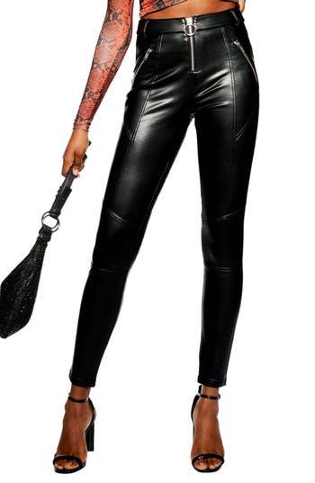 Topshop Faux Leather Skinny Biker Pants