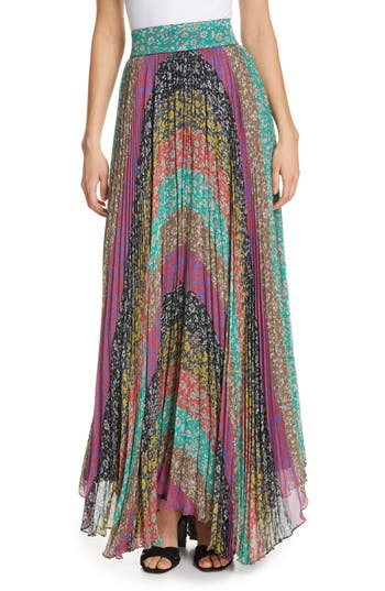 Alice + Olivia Katz Sunburst Pleat Maxi Skirt