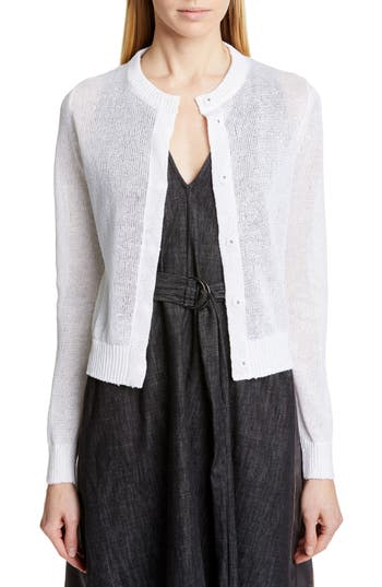 Brunello Cucinelli Sequin Linen & Silk Crop Cardigan