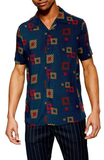 Topman Geo Print Slim Fit Shirt