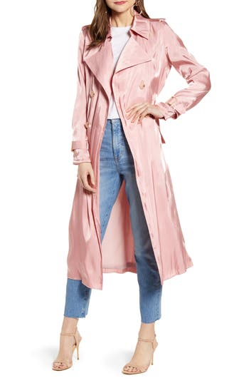 Something Navy Iridescent Trench Coat (Nordstrom Exclusive)