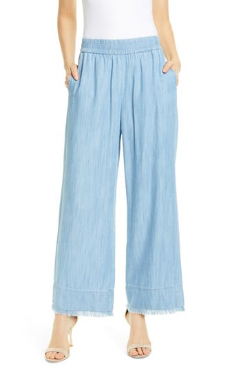 Alice + Olivia Benny Frayed Ankle Wide Leg Pants