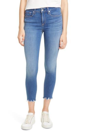 rag & bone High Waist Chewed Hem Crop Skinny Jeans (Flint)
