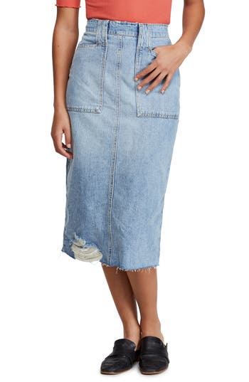 Free People Elisa Denim Pencil Skirt
