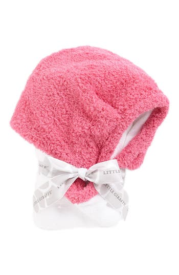 Infant Little Giraffe Chenille Hooded Towel, Size One Size - Pink