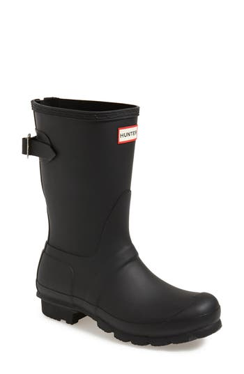 Hunter Original Short Back Adjustable Rain Boot, Black