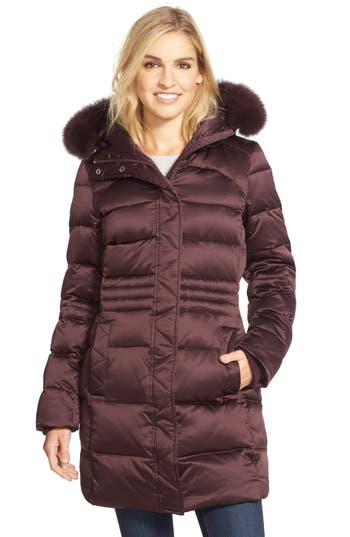 Petite Sachi Down Coat With Genuine Fox Fur Trim, Burgundy