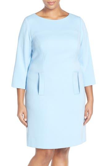 Plus Size Eliza J Pocket Detail Shift Dress, Blue