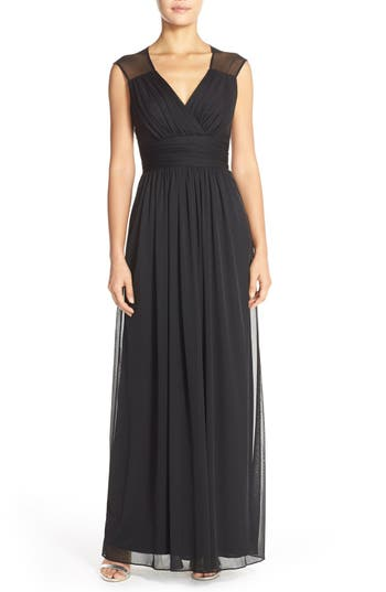 Alfred Sung Shirred Chiffon Cap Sleeve Gown, Black
