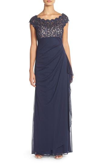 Petite Women's Xscape Metallic Lace & Jersey Gown