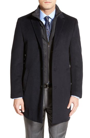 Hart Schaffner Marx Kingman Modern Fit Wool Blend Coat with Removable Zipper Bib