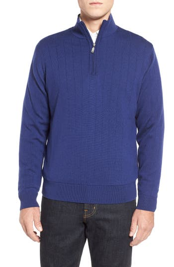 Bobby Jones Windproof Merino Wool Quarter Zip Sweater, Blue
