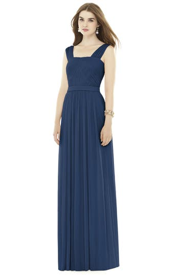 Alfred Sung Pleat Chiffon Knit A-Line Gown With Belt, Blue