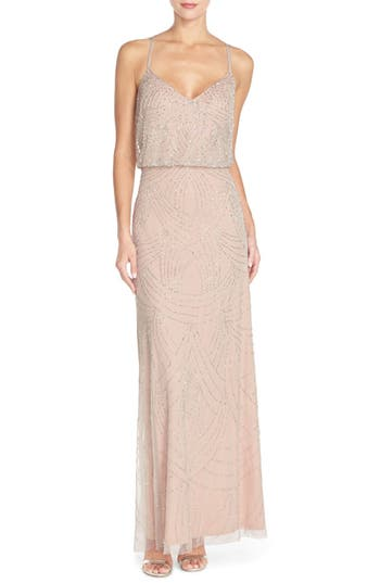 Adrianna Papell Beaded Chiffon Blouson Gown